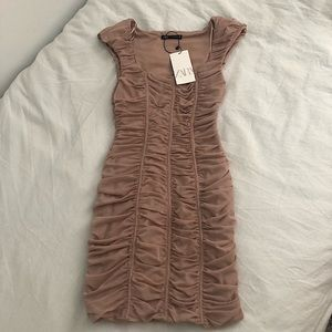New Zara ruched tulle dress